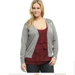 Torrid gray sequin cotton cardigan sweater 1X